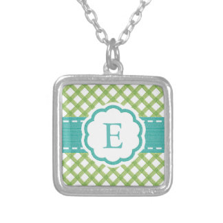 Lime and Aqua Gingham Monogrammed Silver Plated Necklace