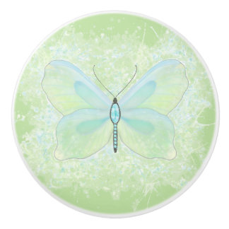 Lime and aqua jeweled butterfly knob