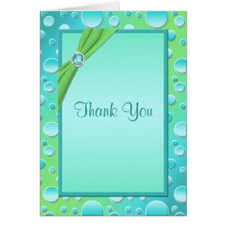 Lime and Aqua Polka Dot Thank You Card