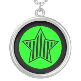 Lime and Black Striped Star Necklace