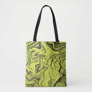 Lime and black tote bag with camouflage.