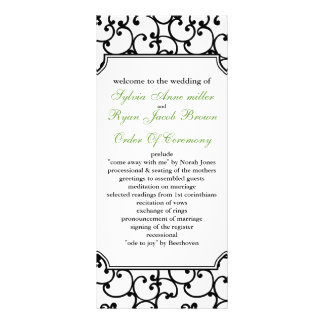 lime and black Wedding program Custom Rack Card