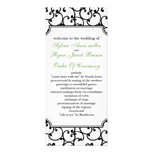 lime and black Wedding program Custom Rack Card