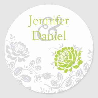 Lime and Gray Damask Envelope Seal Round Stickers
