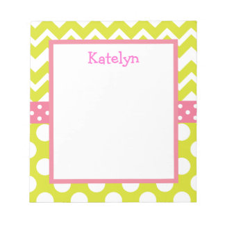 Lime and Pink Chevron and Polka Dots Notepad