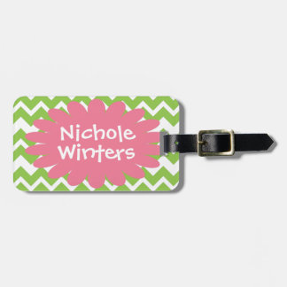 Lime and Pink Chevron Zigzag Luggage Tag