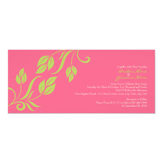 Lime and Pink Floral Leaves Wedding Invitation