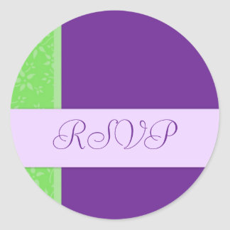 Lime and Purple Floral Wedding RSVP Envelope Seals Round Sticker