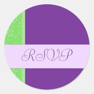 Lime and Purple Floral Wedding RSVP Envelope Seals Round Sticker