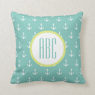 Lime and Seafoam Green Anchor Monogram Pillow