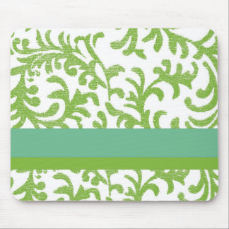 Lime and Teal Floral Pattern Mouse Pad