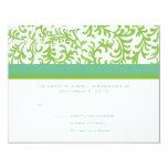 Lime and Teal Wedding RSVP 11 Cm X 14 Cm Invitation Card