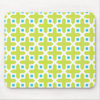 Lime and Turquoise Cross Section Pattern Mousepad