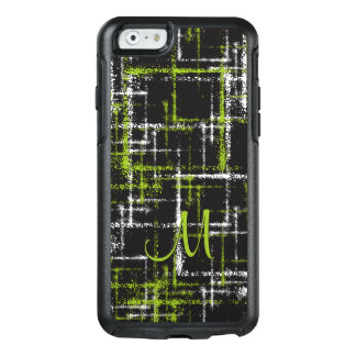 lime and white on black abstract squares OtterBox iPhone 6/6s case
