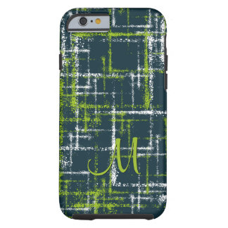 lime and white on teal abstract crisscross pattern tough iPhone 6 case