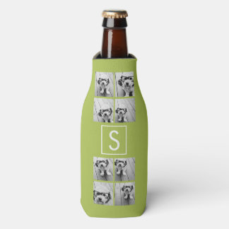Lime and White Photo Collage Custom Monogram Bottle Cooler