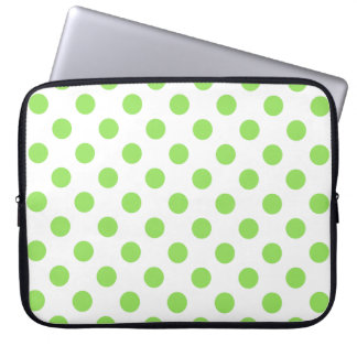 Lime and white polka dots computer sleeves