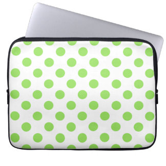 Lime and white polka dots laptop computer sleeve