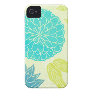 Lime & Aqua Flower Print iPhone 4 Case-Mate Case