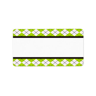 Lime Argyle Address Labels