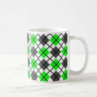 Lime, Black, Grey on White Argyle Print Mug