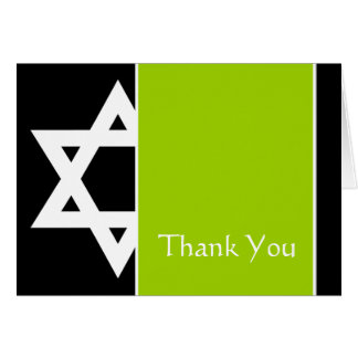 Lime Black Star of David Bar Mitzvah Thank You Card