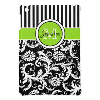 Lime, Black, White Striped Damask iPad Mini Case