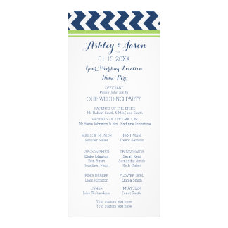 Lime Blue Chevron Wedding Program Customized Rack Card