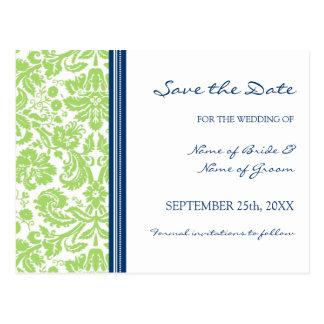 Lime Blue Damask Save the Date Wedding Postcard