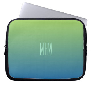 Lime Blue Gradient custom monogram laptop sleeve
