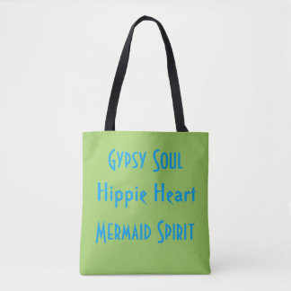 Lime Blue Gypsy Hippie Mermaid Spirit Summer Tote Bag