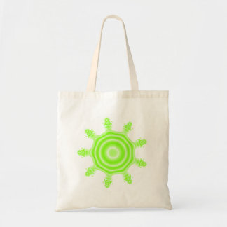Lime Burst Fractal. Green and white. Budget Tote Bag