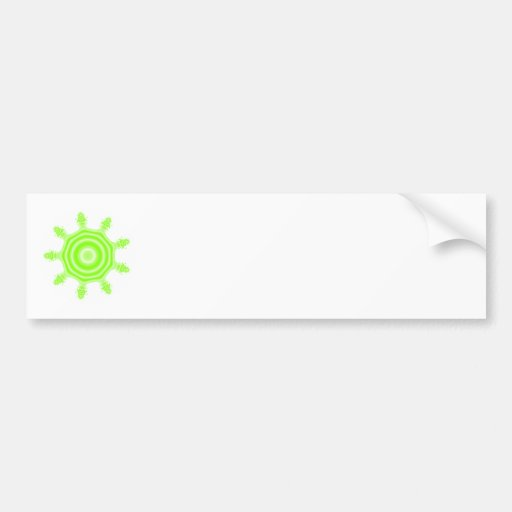 Lime Burst Fractal. Green and white. Bumper Sticker