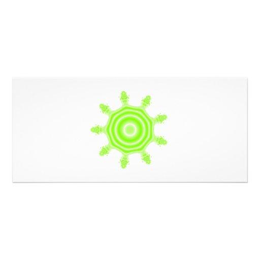 Lime Burst Fractal. Green and white. Rack Card Design