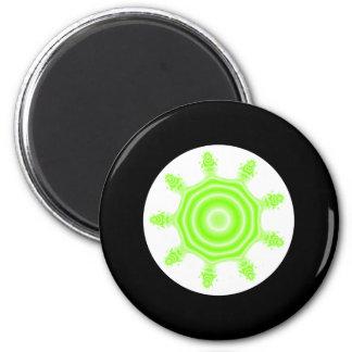 Lime Burst Fractal. Green, black and white. 6 Cm Round Magnet