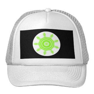 Lime Burst Fractal Green black and white Hats