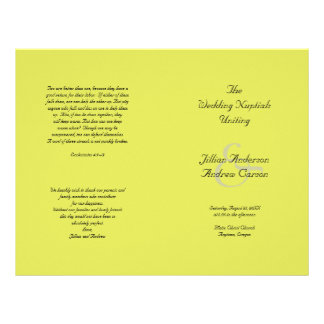 Lime Catholic Folded Wedding Program Template 21.5 Cm X 28 Cm Flyer