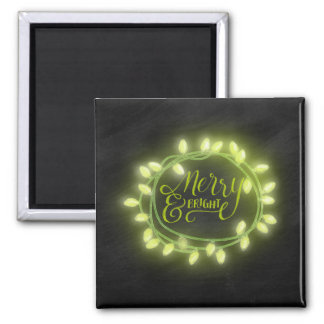 Lime Chalk Drawn Merry and Bright Holiday Square Magnet