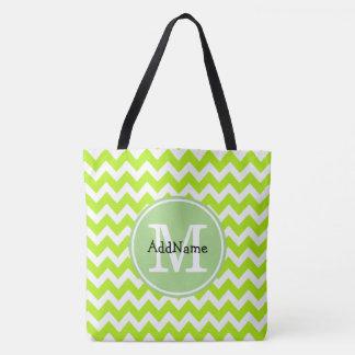 Lime Chevron, Custom Monogram Personalized Name Tote Bag