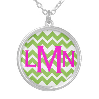 Lime Chevron Zig Zag Monogram Necklace