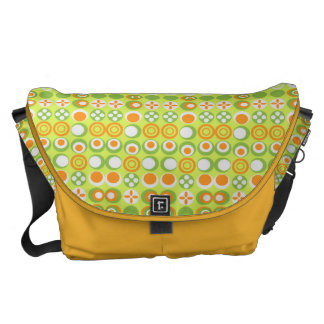 Lime Circle Pattern Rickshaw Large Zero Messenger Messenger Bags