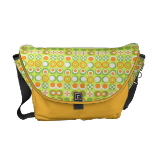 Lime Circle Pattern Rickshaw Medium Zero Messenger Messenger Bags