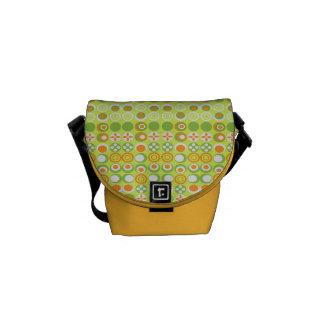 Lime Circle Pattern Rickshaw Mini Zero Messenger Courier Bag