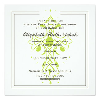 Lime Cross First Communion Baptism Confirmation 13 Cm X 13 Cm Square Invitation Card
