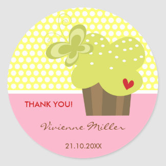 Lime Cupcake Thank You Birthday Party Gift Tag Round Sticker