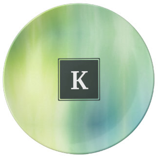 Lime Cyan Abstract Monogram Plate