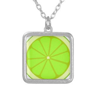 Lime Drawing Silver Plated Necklace