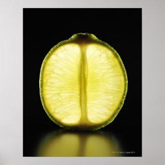 Lime,Fruit,Black background Print