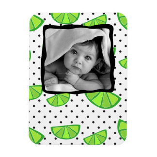 Lime Fruit Polka Dot Baby Photo Template Magnet