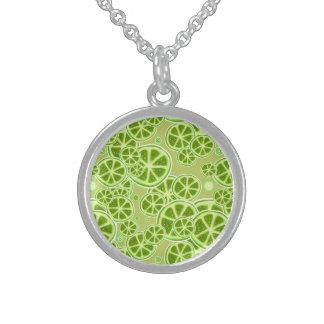 Lime Fruit Slice Pattern Sterling Silver Necklaces